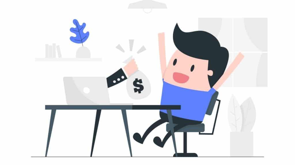 Mann verdient Online Geld